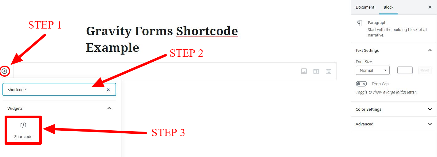 Gravity Forms Shortcode Example